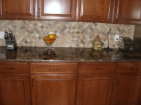 Golden Thunder Countertop with Tile Backsplash